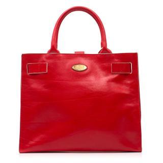 Furla Contrast-Edge Red Leather Bag