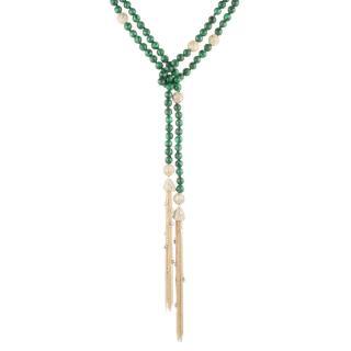 Alexis Bittar Crystal Encrusted Malachite Sautoir Tassel Necklace