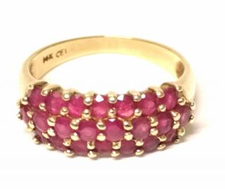 Bespoke Ruby Cluster Ring 14ct Yellow Gold
