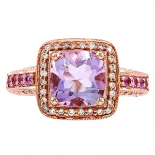 Levian Strawberry Gold Diamond & Amethyst Ring 14ct Gold M
