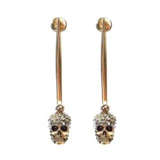Alexander McQueen Antique Gold Tone Stick Skull Earrings