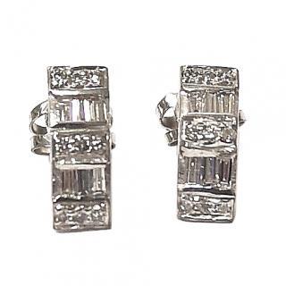 Bespoke Baguette & Round White Gold Diamond Earrings