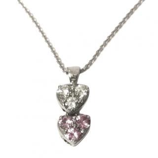 Bespoke Diamond & Pink Sapphire Pendant 18ct Gold Necklace
