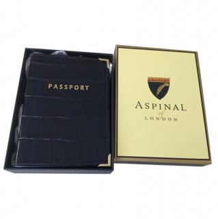 Aspinal Navy Croc Embossed Passport Cover