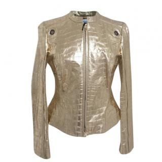 Versace Gold Croc embossed Leather Jacket