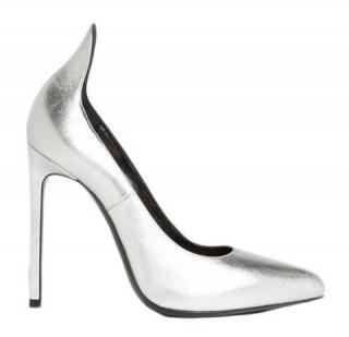 Saint Laurent Paris Escarpin 'Thorn' Pump In Silver