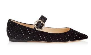 Jimmy Choo Gianna Flat, Black Glitter Spotted Velvet Pointy Toe Flats