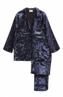Yolke Navy Tapered Sequin Pyjama Suit