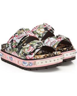 Alexander McQueen Floral-Print Leather Slides