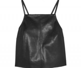 Nanushka Black 'Kate' Faux Leather Cropped Sleeveless Cami Top