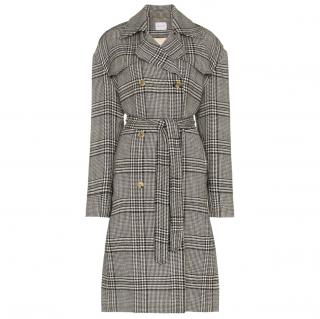 Magda Butrym check Wool Trench Coat 34