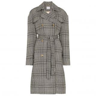 Magda Butrym check Wool Trench Coat 34