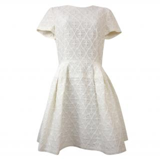 Alexander Mcqueen Embroidered Jacquard Ivory Dress