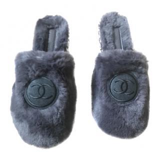 Chanel Luxury Faux Fur Slippers
