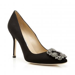 Manolo Blahnik Black Satin Jewel Buckle Hangisi 105 Pumps