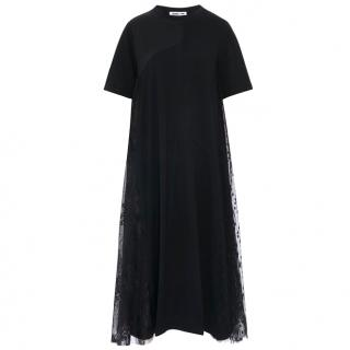 McQ by Alexander McQueen Black Lace-Overlay T-shirt Dress