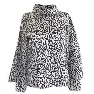Issa Black & White Abstract-Print Silk Top
