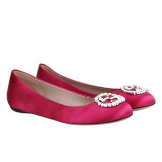 Gucci GG Fuchsia Suede Embellished Ballerinas
