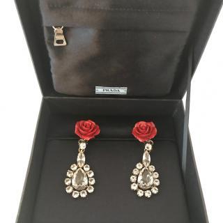 Prada - rose and crystal earrings