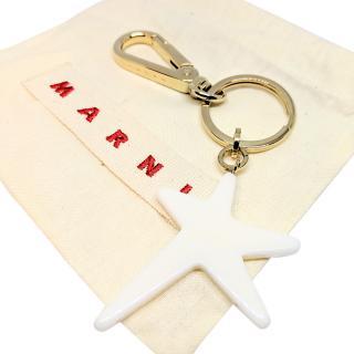 Marni White Lucky Star Keychain