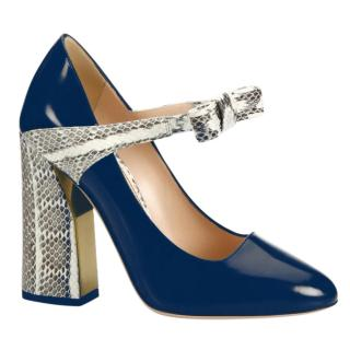 Gucci Nimue Bow Patent Leather & Snakeskin Mary Jane Block-Heel Pumps