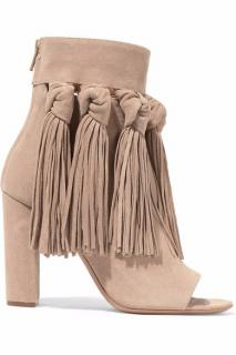 Chloe beige open-toe fringed suede ankle boots