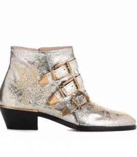 Chloe Susanna Ankle Boots In Metallic leather