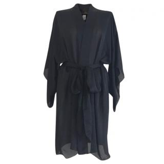 Jenny Packham Black Silk Dressing Gown