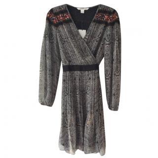 Diane Von Furstenberg black silk wrap dress