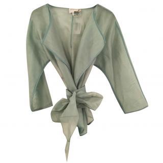 Armani Collezioni silk-organza green wrap top