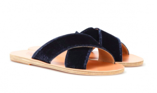 Ancient Greek 'Thais' Navy Velvet Sandals