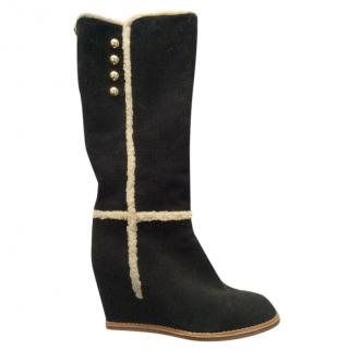 Kate Spade shearling-trimmed knee-high wedge boots
