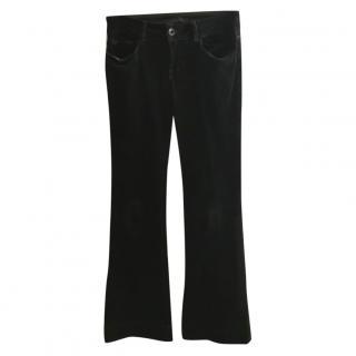 J Brand green corduroy flared trousers