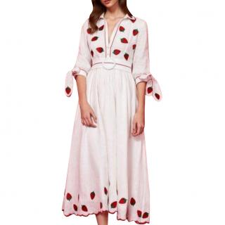 Gul Hurgel Strawberry-embroidered white linen dress