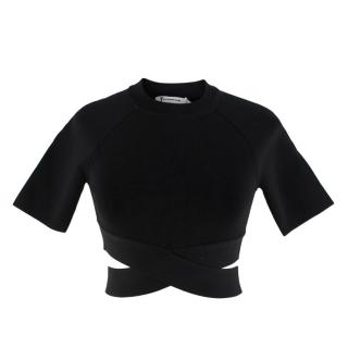 T by Alexander Wang Black Wrap Cropped Top