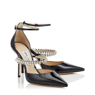 Jimmy Choo Bobbie 100mm Black Patent Leather Pumps