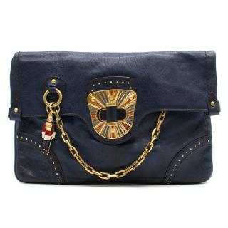 Alexander McQueen Original Blue Leather Clutch Bag