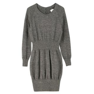 Chanel Grey Ribbed-Waist Wool-Knit Dress