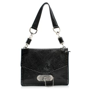 Alexander McQueen Original Black Embossed-Leather Shoulder Bag