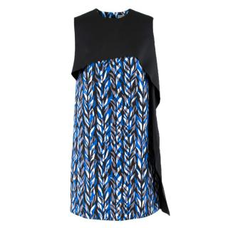 Balenciaga Blue & Black Layered Neoprene Dress