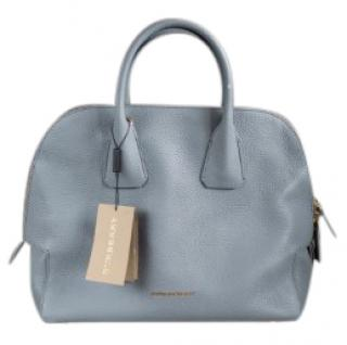 Burberry Greenwood storm-grey leather bowling bag