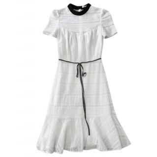 Erdem Contrast-Collar Cotton Lace Dress