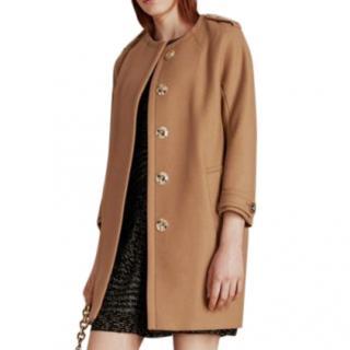 Burberry Beige Collarless Pea Coat