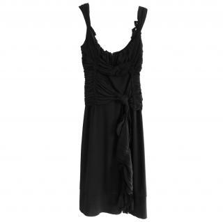Prada Black Asymmetric Draped Crepe Dress