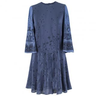 Valentino Metamorphosis Blue Crepe de Chine Mini Dress