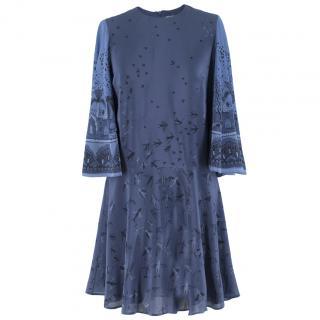 Valentino Metamorphosis Blue Crepe de Chine Mini Dress