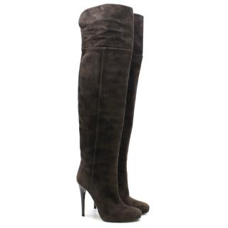 Jimmy Choo Brown Suede Over-the-Knee Boots