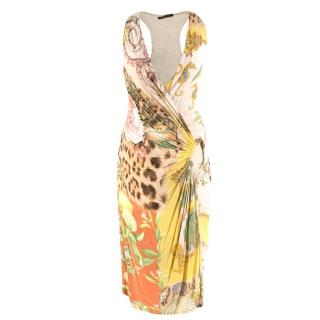 Roberto Cavalli Multi-Print Wrap Dress