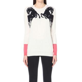 Stella McCartney Horse-intarsia wool and silk-blend sweater