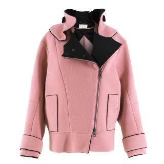 Chloe Detachable-Collar Pink Wool-Blend Biker Jacket